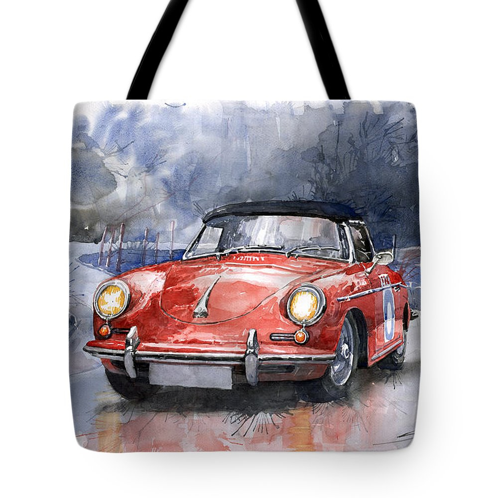 Auto Tote Bag featuring the painting Porsche 356 B Roadster by Yuriy Shevchuk