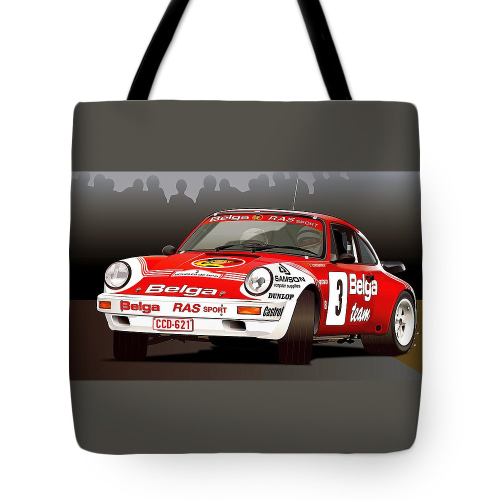 Porsche 911 Rally Illustration Tote Bag For Sale By Alain Jamar