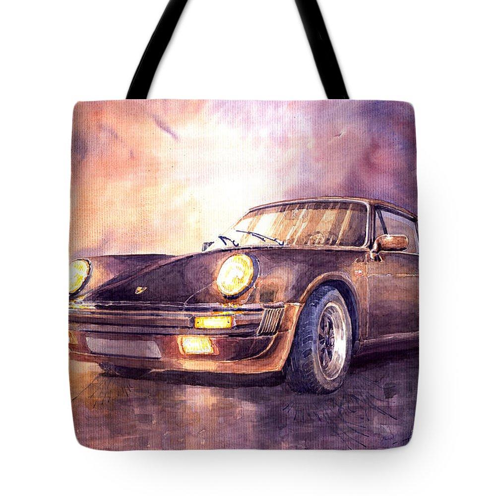 Shevchukart Tote Bag featuring the painting Porsche 911 Turbo 1979 by Yuriy Shevchuk