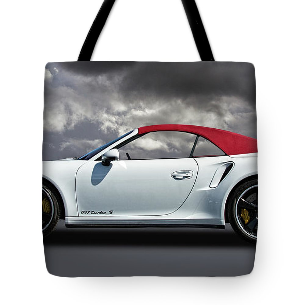 Porsche Tote Bag featuring the photograph Porsche 911 Turbo S With Clouds by Nick Gray