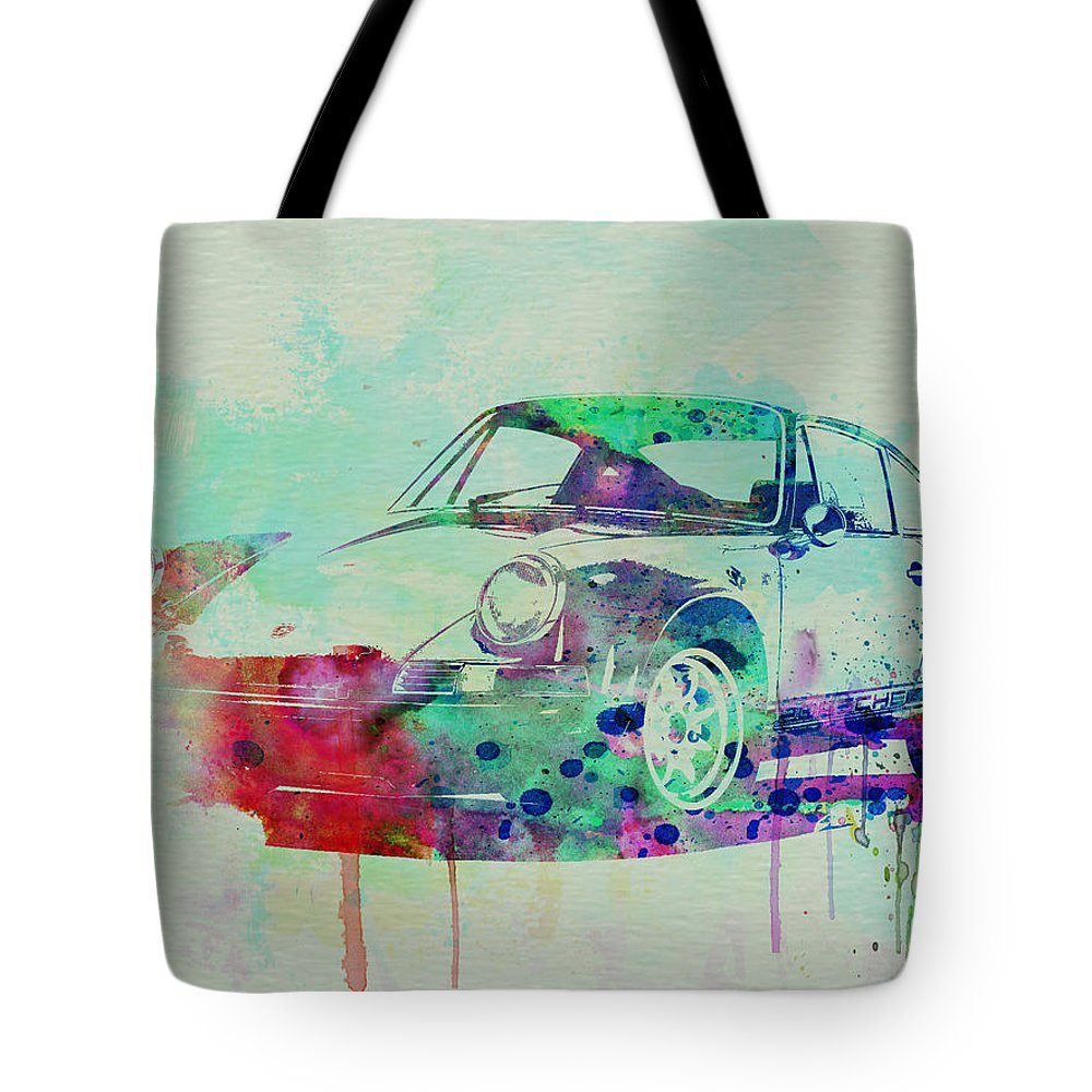 Porsche 911 Tote Bag featuring the painting Porsche 911 Watercolor 2 by Naxart Studio