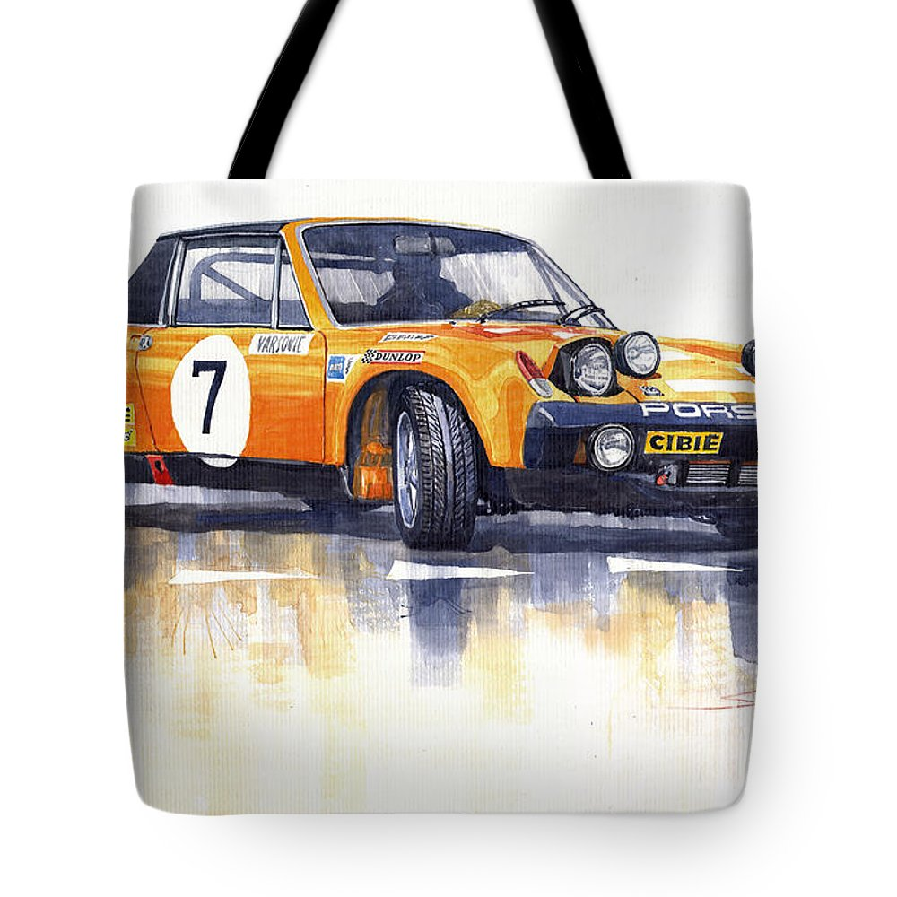 Watercolour Tote Bag featuring the painting Porsche 914-6 Gt Rally by Yuriy Shevchuk