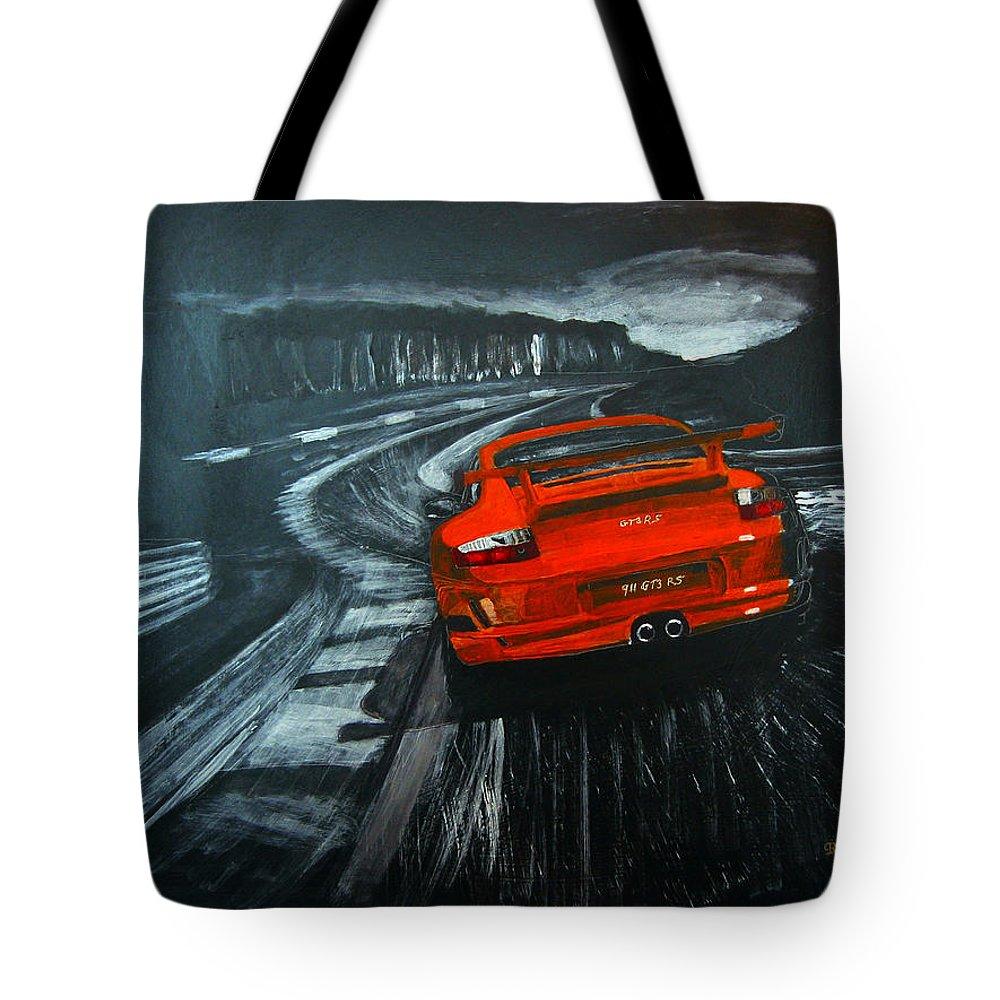 Porsche Tote Bag featuring the painting Porsche Gt3 Le Mans by Richard Le Page