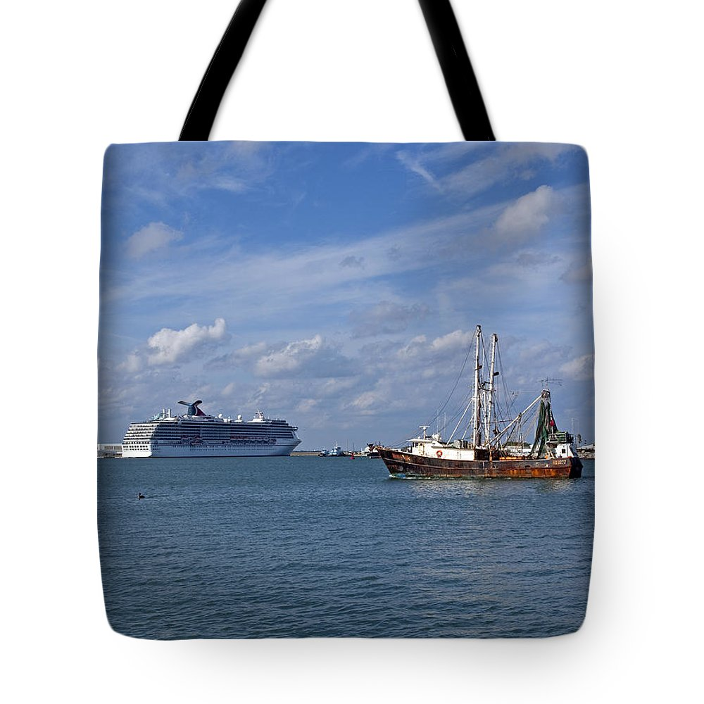 Canaveral Tote Bag featuring the photograph Port Canaveral In Florida Usa by Allan Hughes