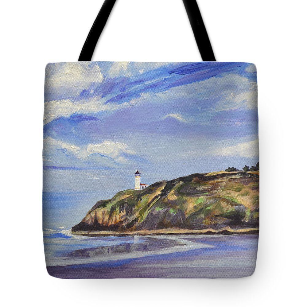 Painting Tote Bag featuring the painting Port in a Storm by Mary Chant