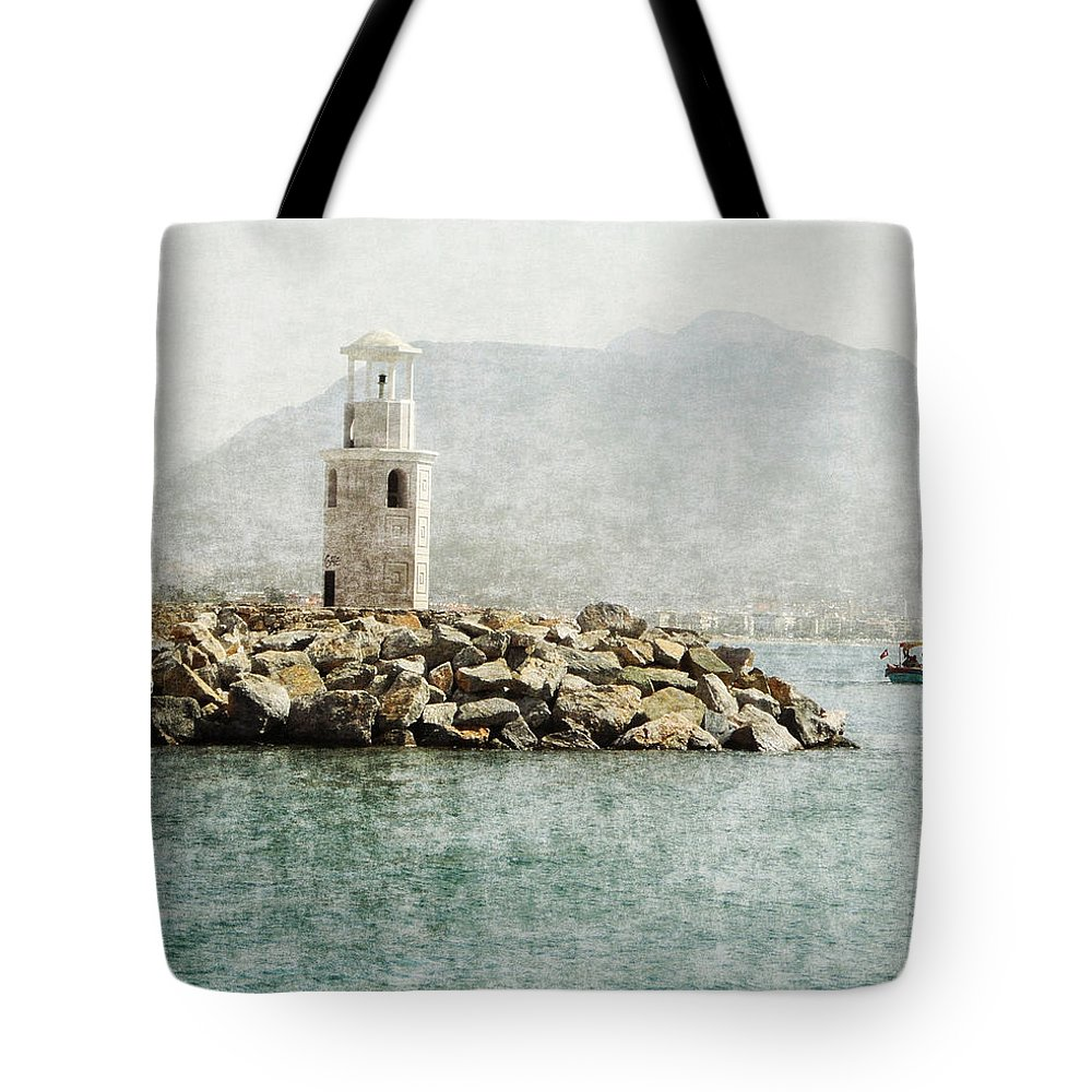 Digital Photo Painting Tote Bag featuring the digital art Port In Alanya City-turkey by Grace Iradian