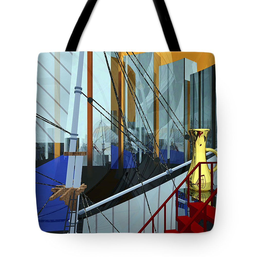 Abstract Tote Bag featuring the digital art Port Of Call by Richard Rizzo