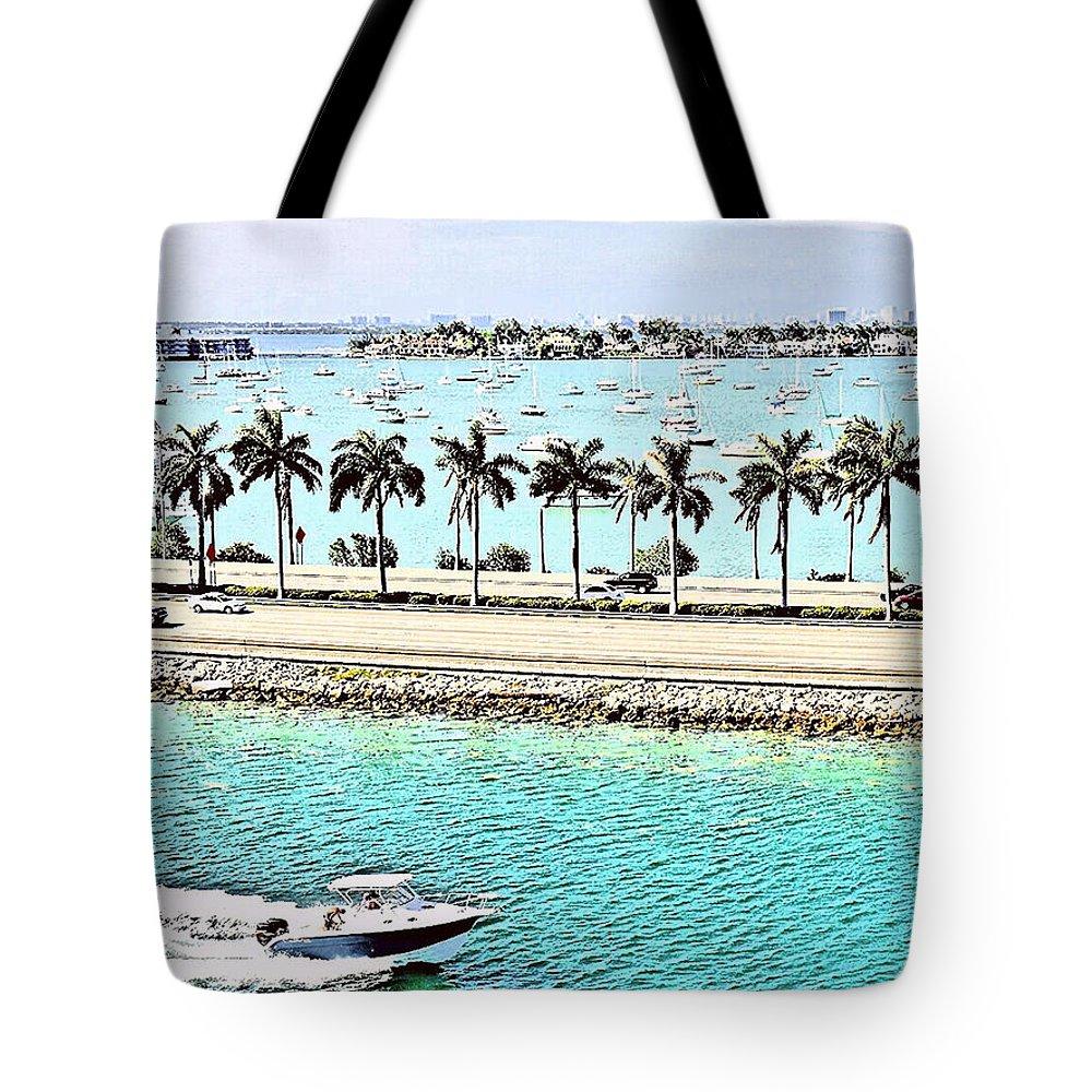Cityscape Tote Bag featuring the photograph Port Of Miami - Miami, Florida by Thomas Krappweis