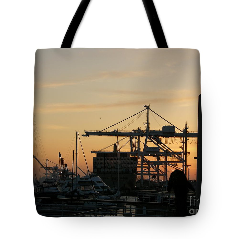 Oakland Tote Bag featuring the photograph Port Of Oakland Sunset by Carol Groenen