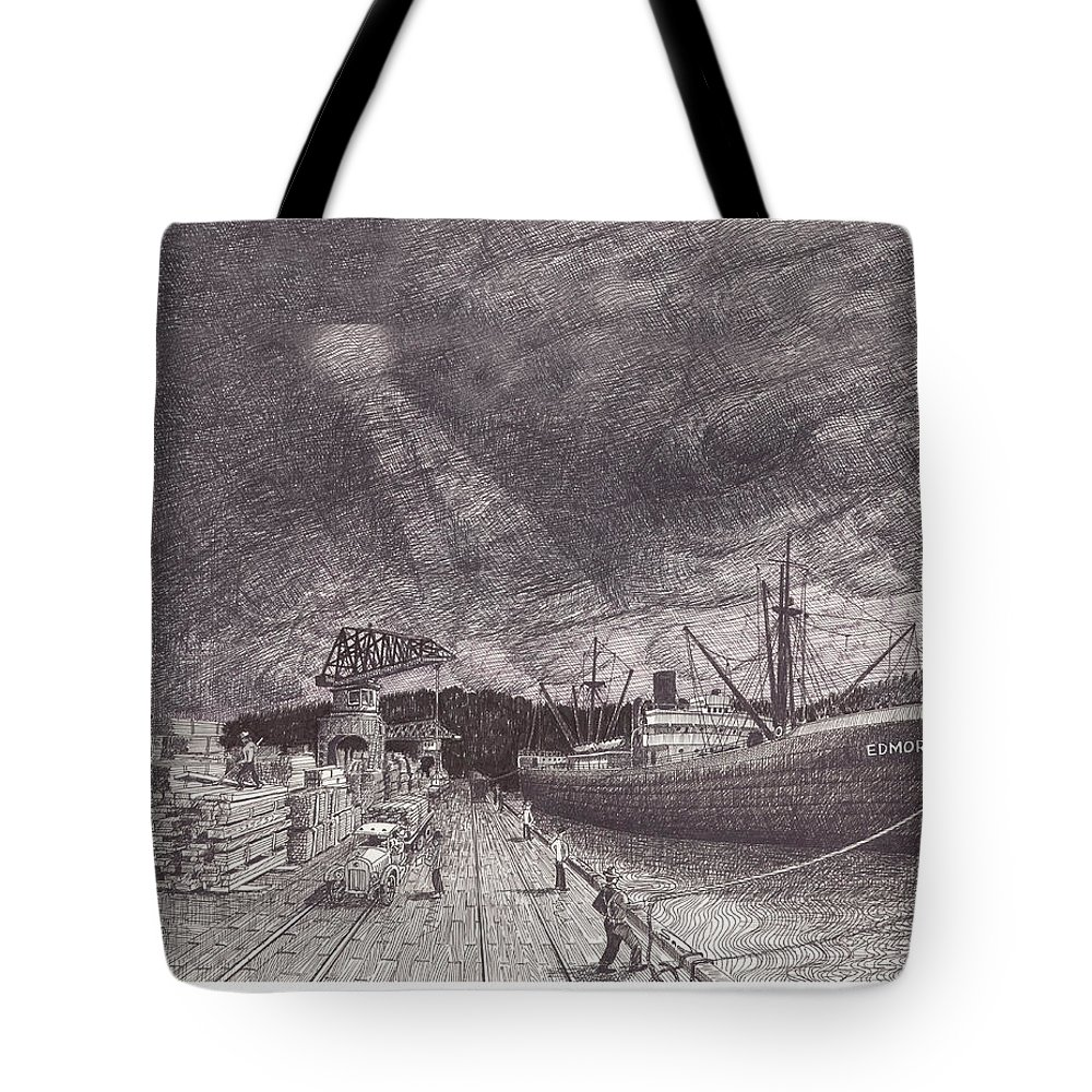 Port Of Tacoma Tote Bag featuring the drawing Port Of Tacoma Wa Waterfront by Jack Pumphrey