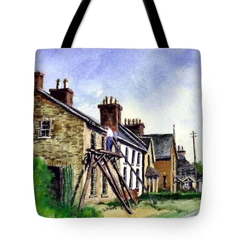 Water Color Tote Bag featuring the painting Port Rush Gutter Repair by Jim Gola