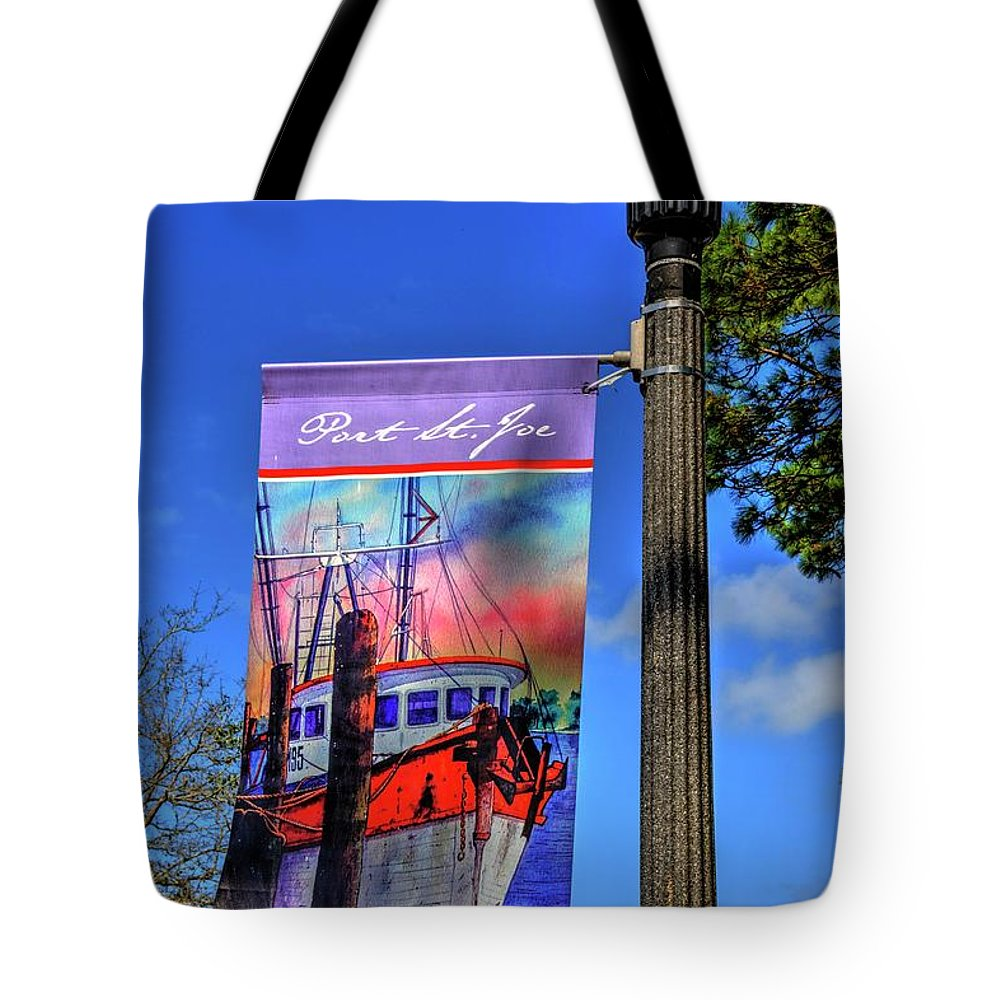 Port Tote Bag featuring the photograph Port St. Joe Banner by Paul Lindner
