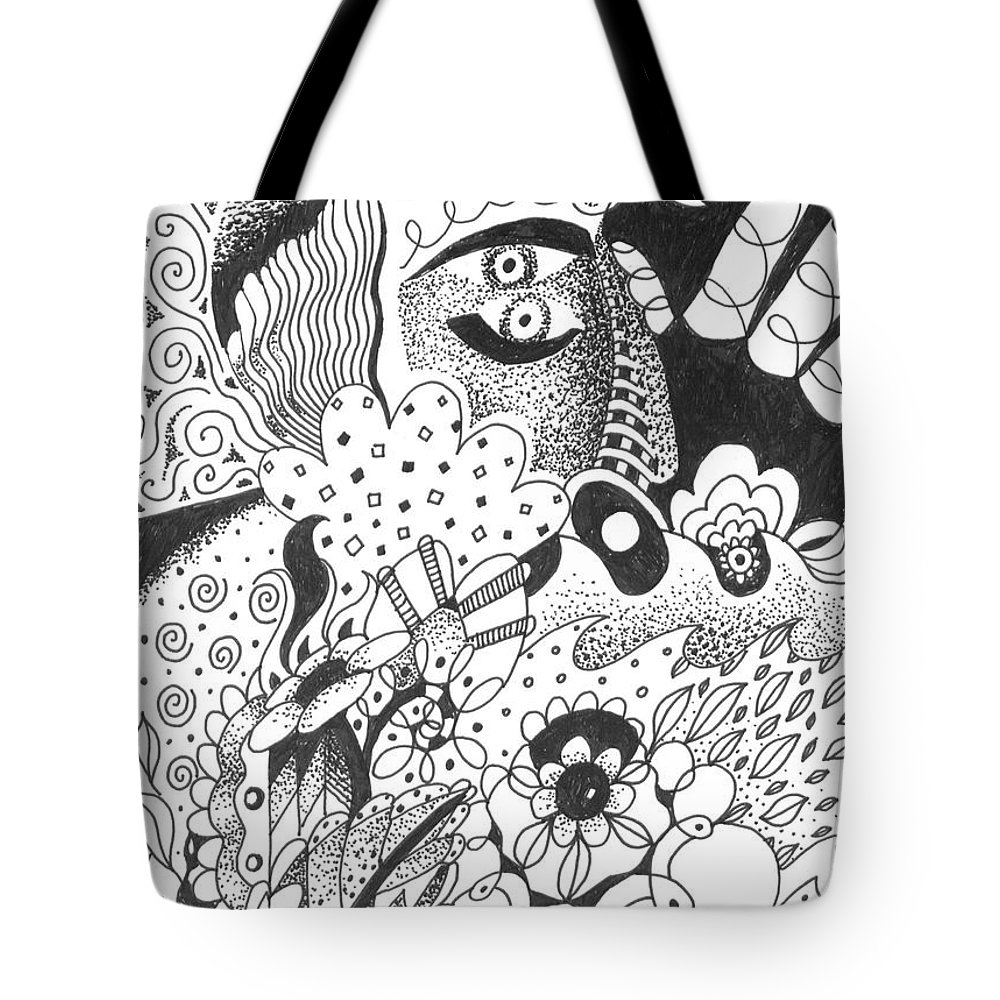 Awakening Tote Bag featuring the drawing Portals by Helena Tiainen