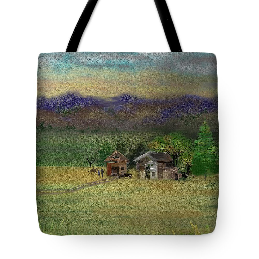 Barn Tote Bag featuring the digital art Porter's Farm by Arline Wagner