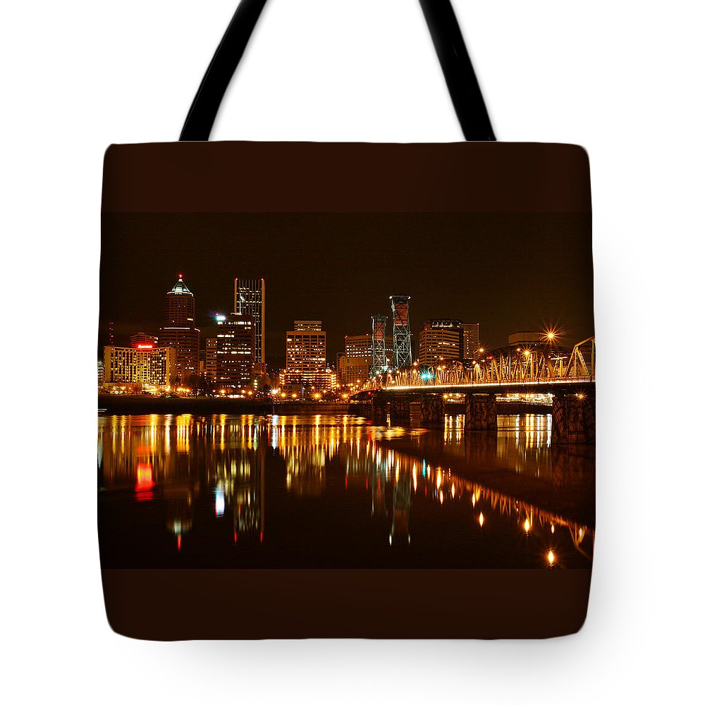 Portland At Night Tote Bag featuring the photograph Portland At Night by Wes and Dotty Weber