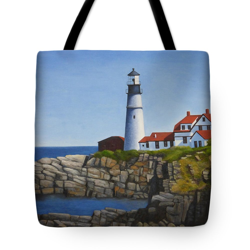Lighthouse Tote Bag featuring the painting Portland Head Light by Dawn Tyler