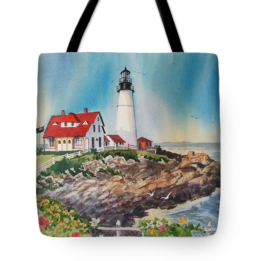 Portland Me Lighthouse Tote Bag featuring the painting Portland Head Light by Dianna Willman