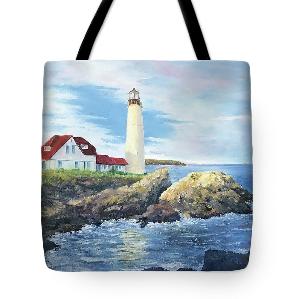 Portland Tote Bag featuring the painting Portland Head Light by ML McCormick