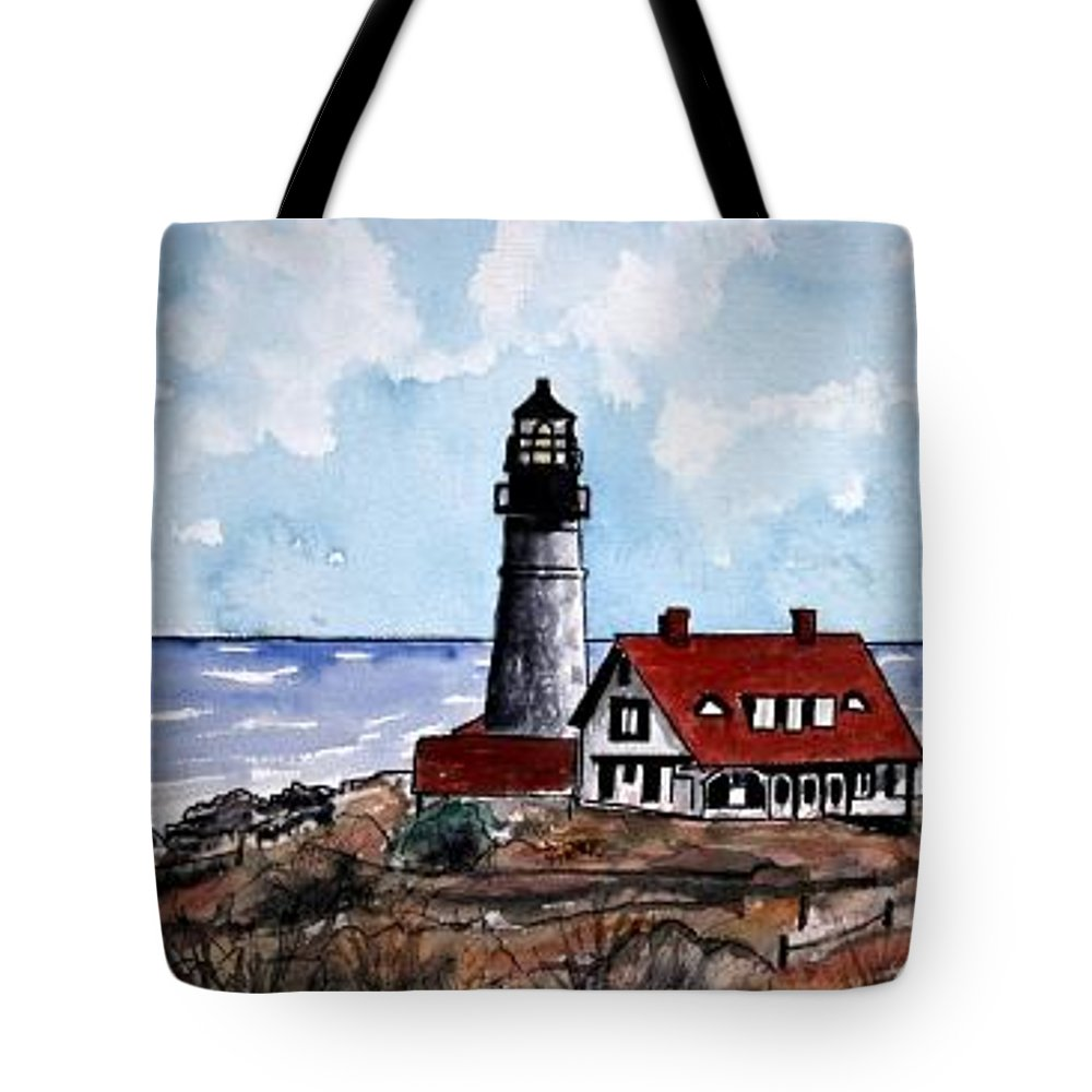 Lighthouse Paintings Tote Bag featuring the painting Portland Head Lighthouse by Derek Mccrea