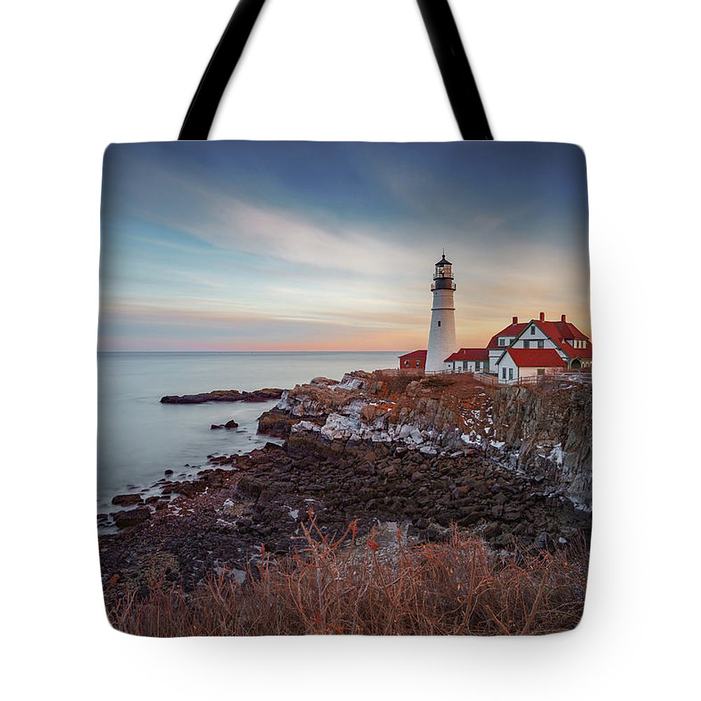 Portland Maine Lighthouse Cape Ocean Atlantic Casco Bay Tote Bag featuring the photograph Portland Headlight by David Hufstader