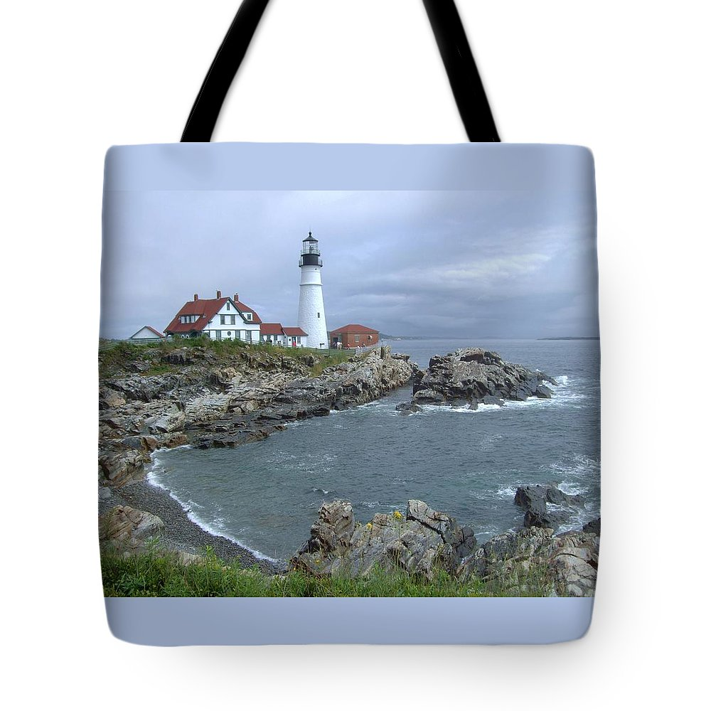 Lighthouse Tote Bag featuring the photograph Portland Headlight, Maine by Laurence Konigsberg