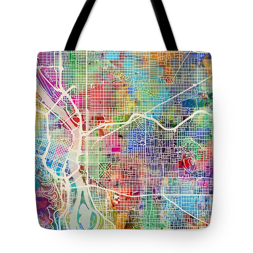 Portland Tote Bag featuring the digital art Portland Oregon City Map by Michael Tompsett