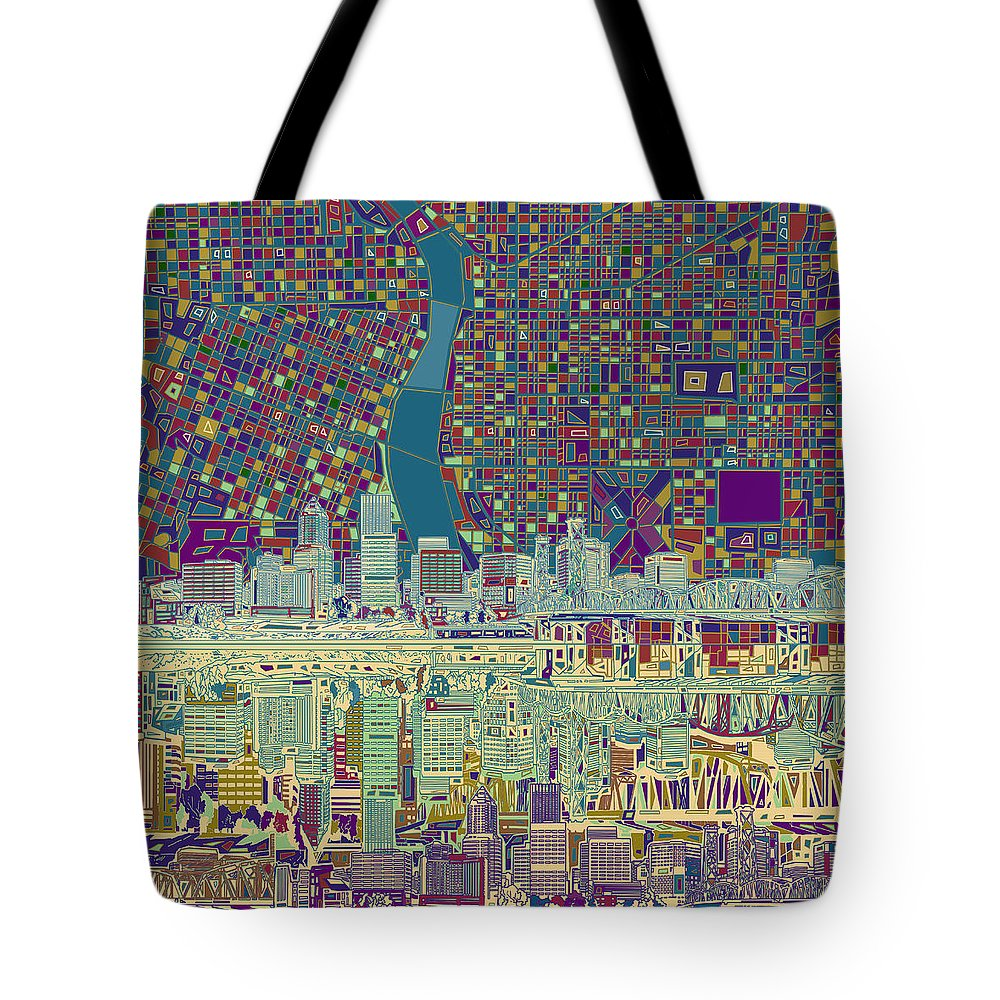 Portland Tote Bag featuring the painting Portland Skyline Abstract 7 by Bekim M