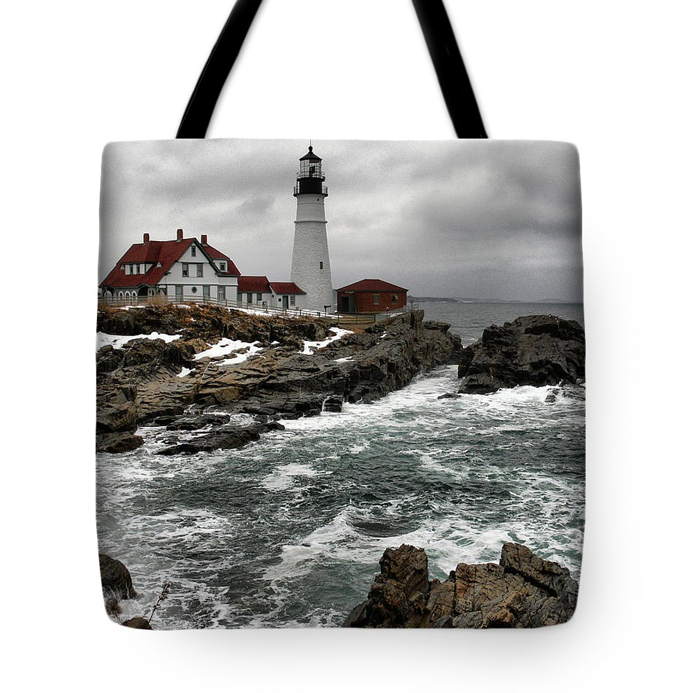New England Lighthouse Tote Bag featuring the photograph Portlandhead Lighthouse by Nancie DeMellia