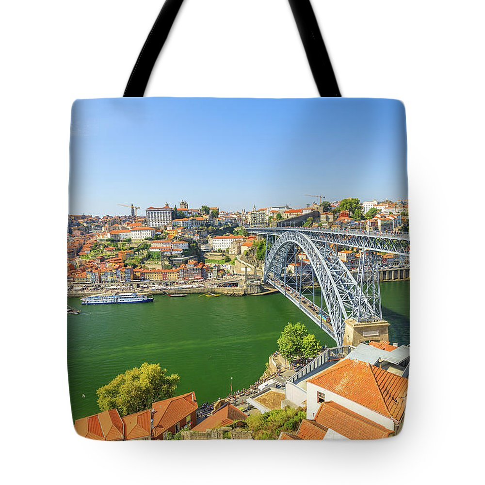 Oporto Tote Bag featuring the photograph Porto Portugal Skyline by Benny Marty