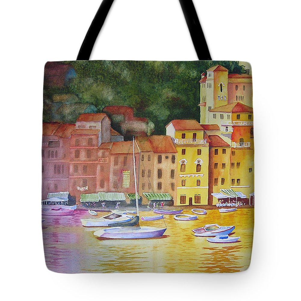 Italy Tote Bag featuring the painting Portofino Afternoon by Karen Stark
