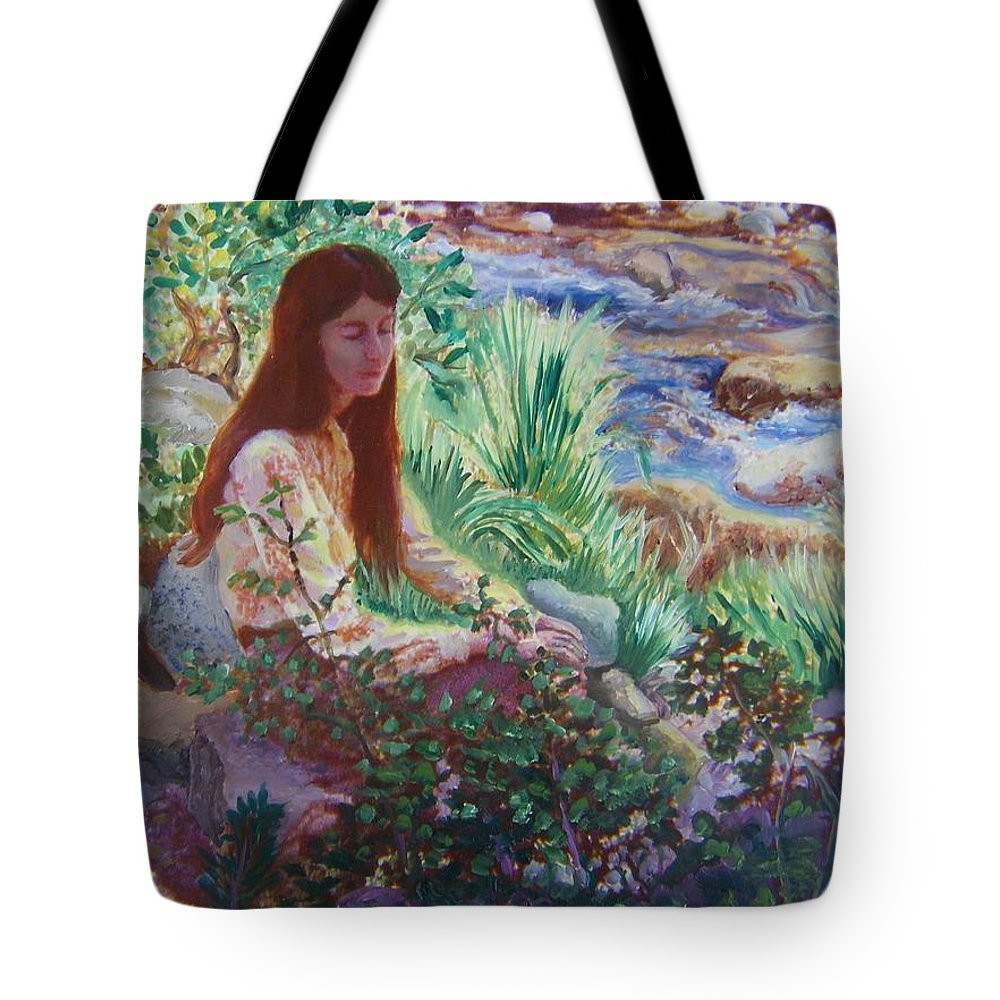 Abstract Tote Bag featuring the painting Portrait By The Stream by Dawn Senior-Trask