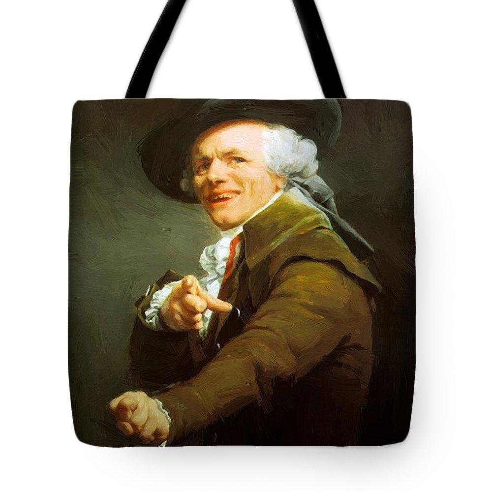 Portrait Tote Bag featuring the painting Portrait De L Artiste Sous Les Traits D Un Moqueur 1793 by Ducreux Joseph