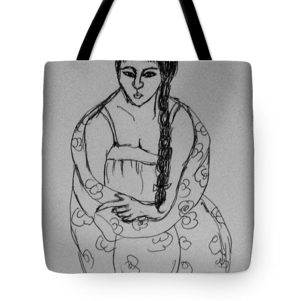 Girl Portrait Tote Bag featuring the drawing Portrait Girl by Hae Kim