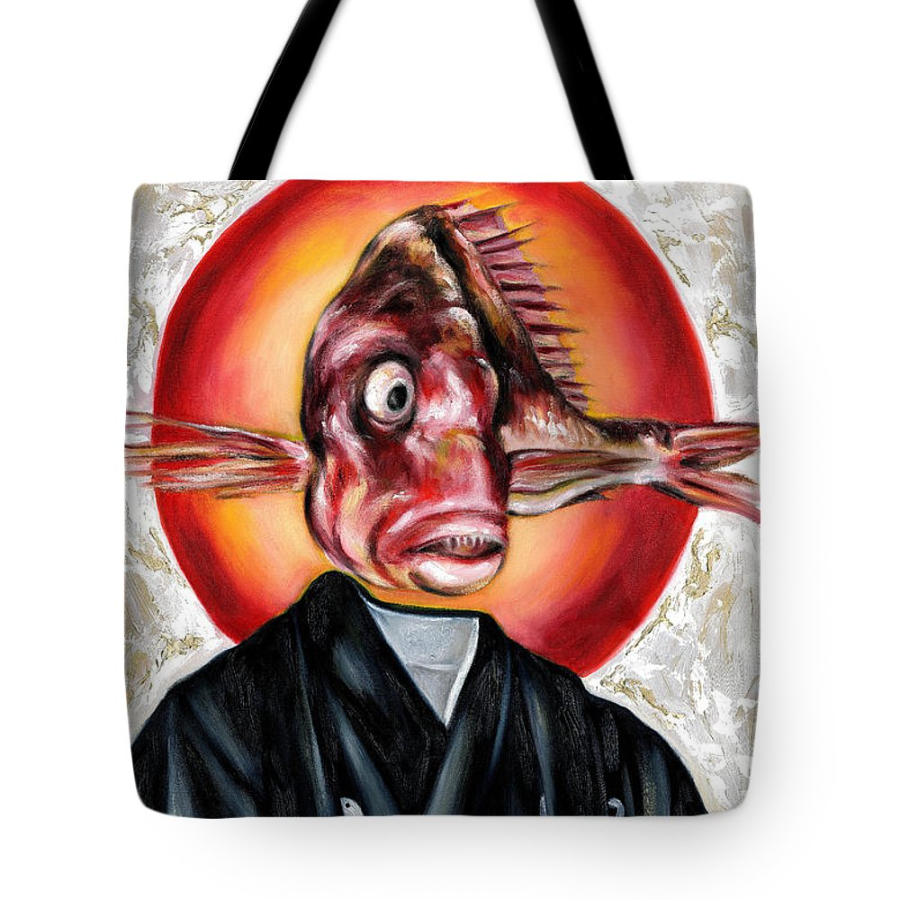 Japanese Tote Bag featuring the painting Portrait by Hiroko Sakai