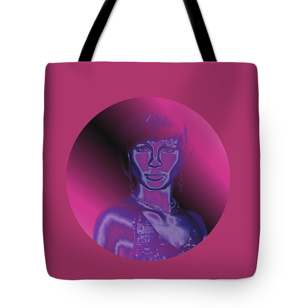 Portrait In Berry 1 Tote Bag featuring the digital art Portrait In Berry 1 by Judi Suni Hall