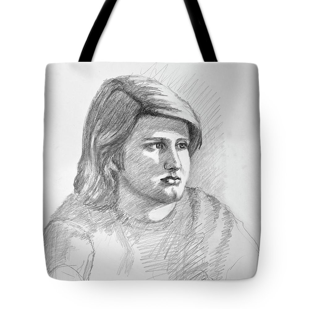 Realism Tote Bag featuring the drawing Portrait Of A Boy by Keith Burgess