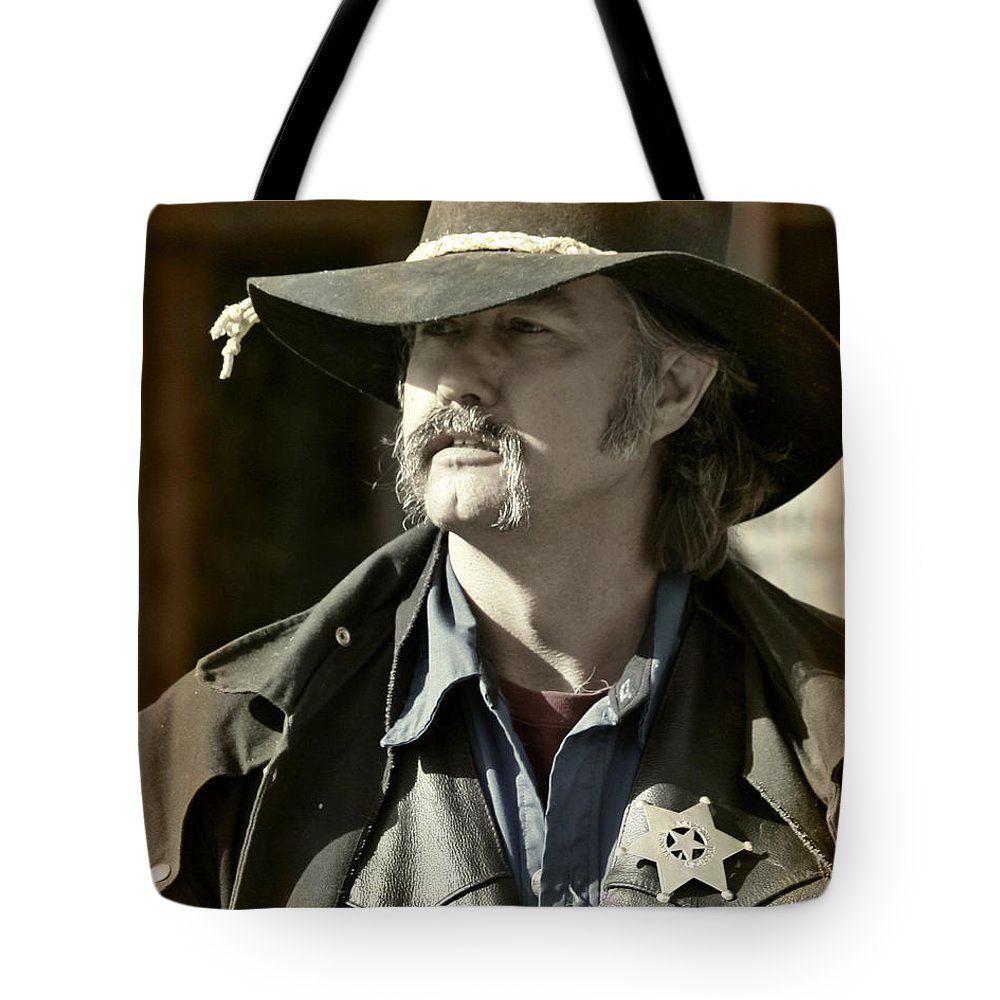 Portrait Tote Bag featuring the photograph Portrait Of A Bygone Time Sheriff by Christine Till
