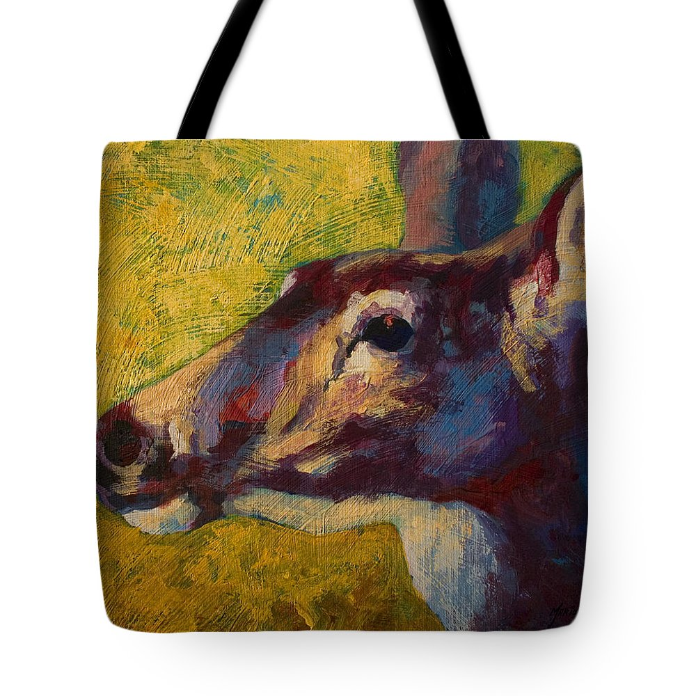 Deer Tote Bag featuring the painting Portrait Of A Doe by Marion Rose