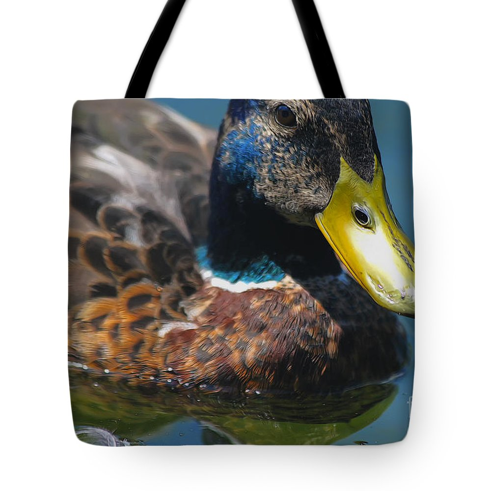 Photo Tote Bag featuring the photograph Portrait Of A Duck by Jutta Maria Pusl
