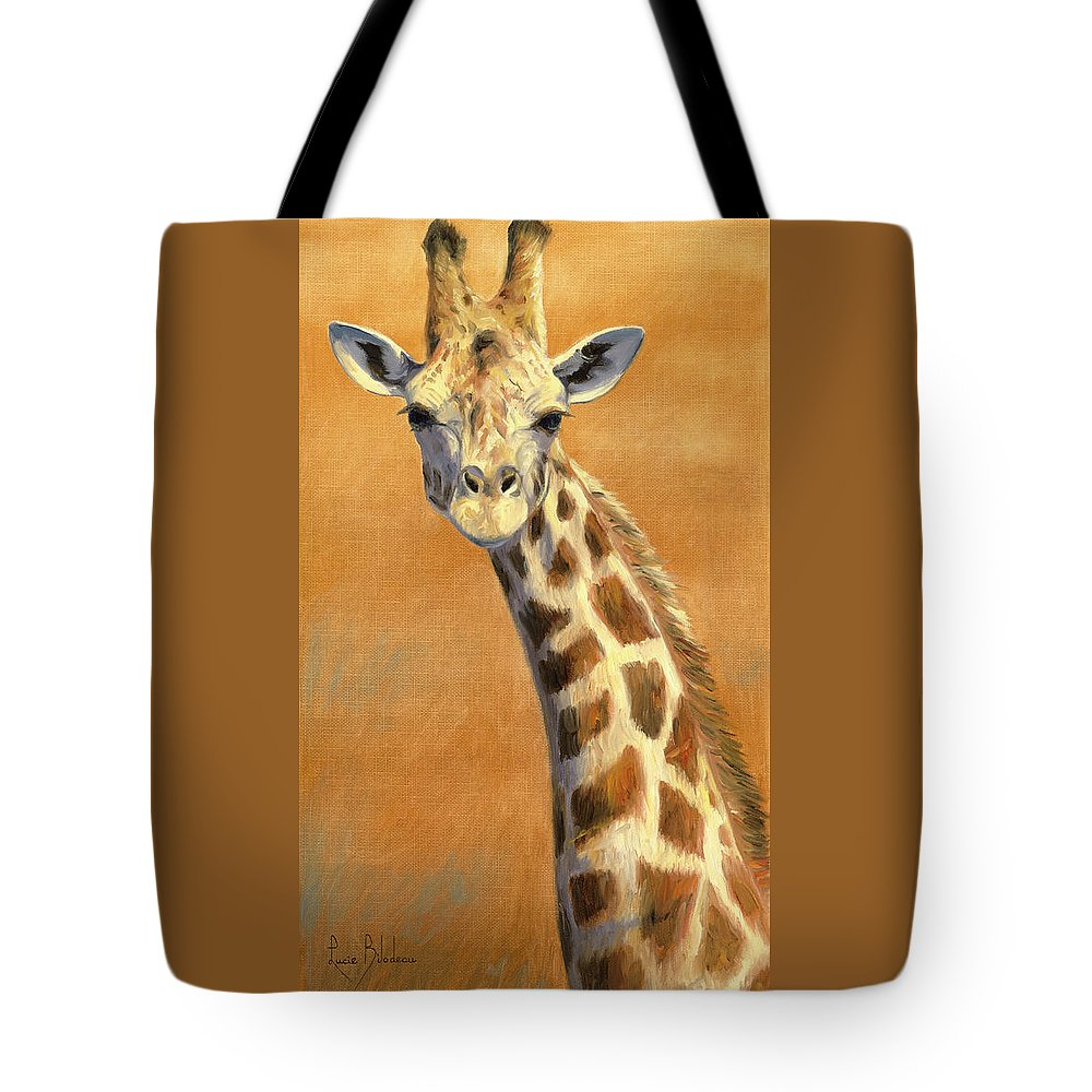 Giraffe Tote Bag featuring the painting Portrait Of A Giraffe by Lucie Bilodeau