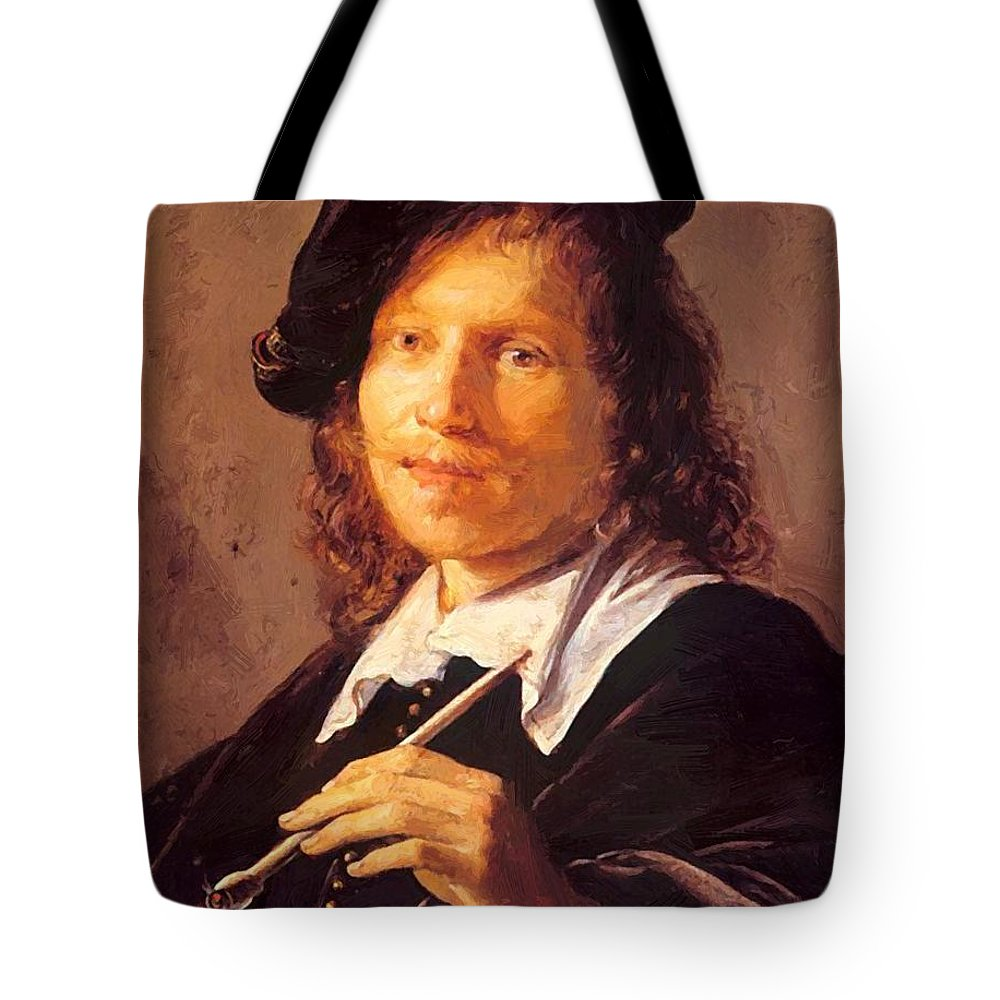 Portrait Tote Bag featuring the painting Portrait Of A Man 1640 by Dou Gerrit