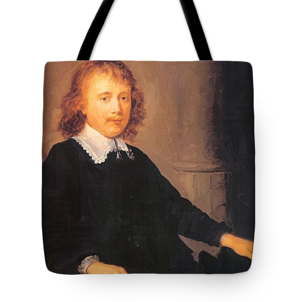 Portrait Tote Bag featuring the painting Portrait Of A Man by Dou Gerrit