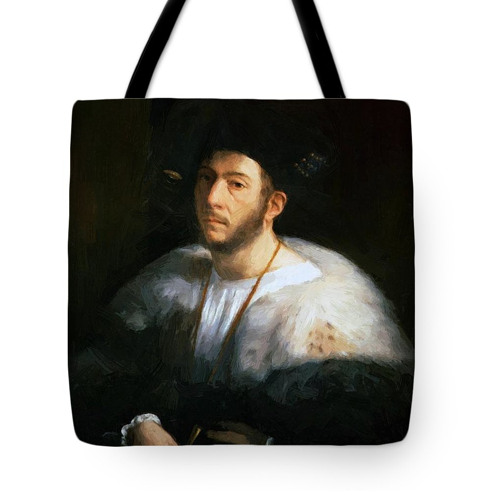 Portrait Tote Bag featuring the painting Portrait Of A Man Probably Cesare Borgia 1520 by Dossi Dosso