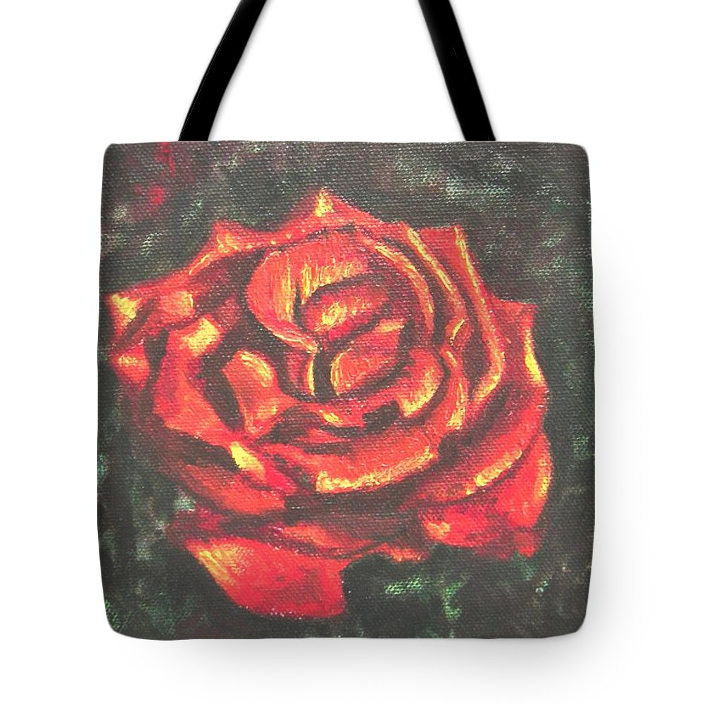 Red Tote Bag featuring the painting Portrait Of A Rose 2 by Usha Shantharam
