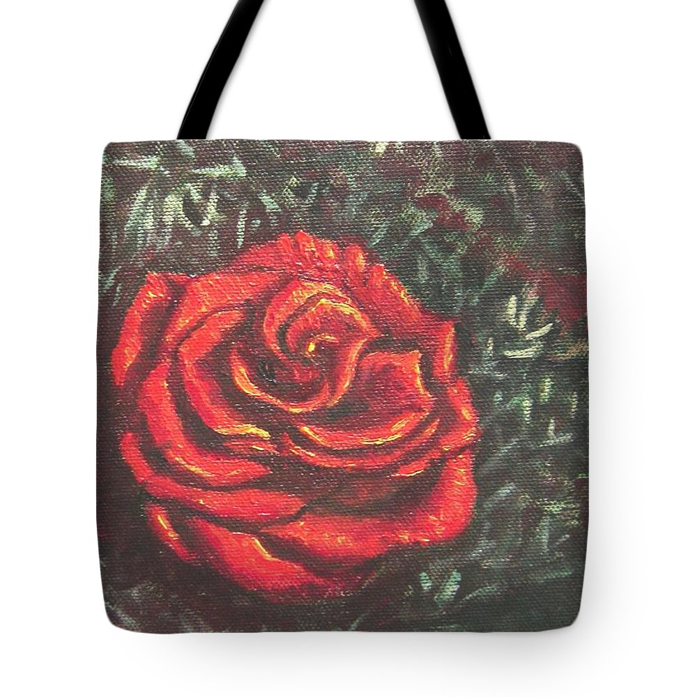 Portrait Tote Bag featuring the painting Portrait Of A Rose 4 by Usha Shantharam