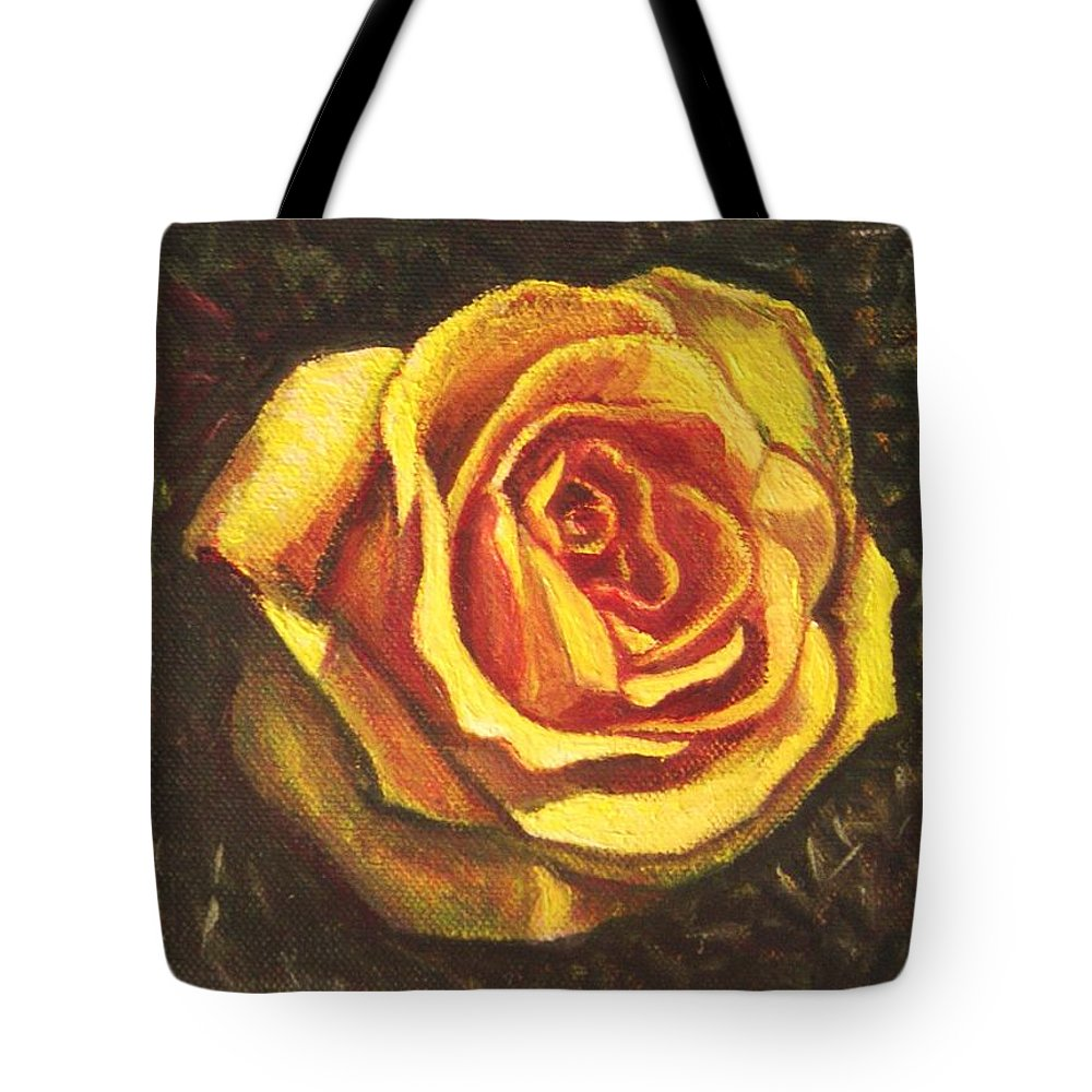 Yellow Tote Bag featuring the painting Portrait Of A Rose 5 by Usha Shantharam