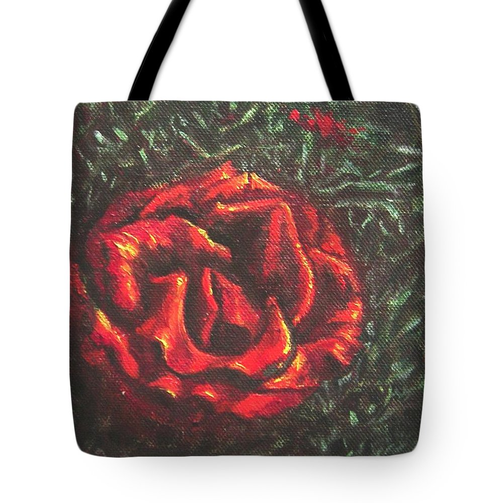Portrait Tote Bag featuring the painting Portrait Of A Rose 6 by Usha Shantharam