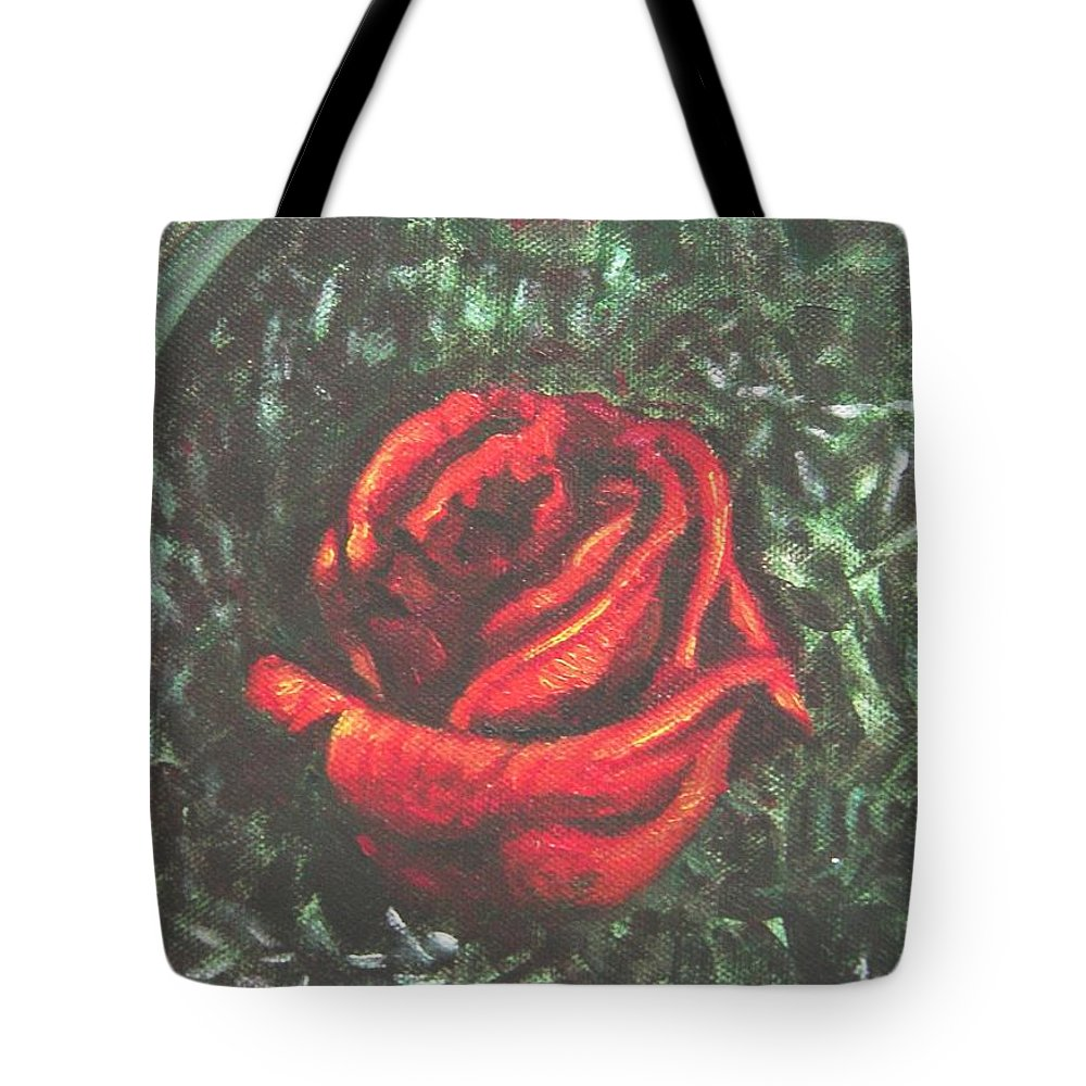 Rose Tote Bag featuring the painting Portrait Of A Rose by Usha Shantharam