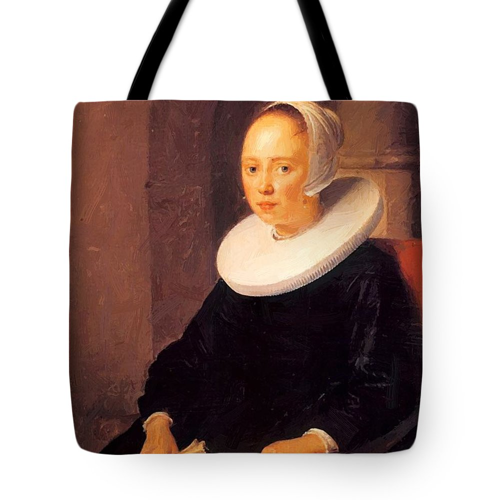 Portrait Tote Bag featuring the painting Portrait Of A Woman 1646 by Dou Gerrit