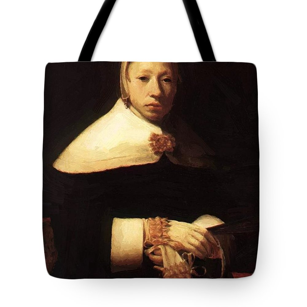 Portrait Tote Bag featuring the painting Portrait Of A Woman by Dou Gerrit